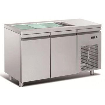 Εικόνα της Ψυγείο Πάγκος Τυριέρα Συντήρηση 2 πόρτες & ψυκτικό μηχάνημα, 141x70x87 cm
