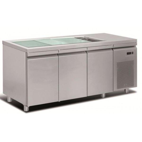 Εικόνα της Ψυγείο Πάγκος Τυριέρα Συντήρηση 3 πόρτες & ψυκτικό μηχάνημα, 188x70x87 cm