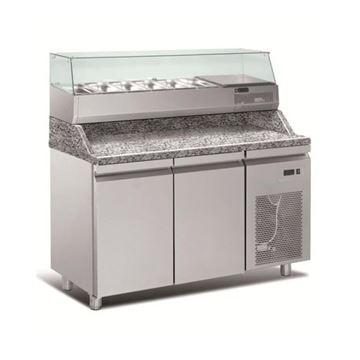 Εικόνα της Ψυγείο Πάγκος Πίτσας Συντήρηση 2 πόρτες με γρανίτη & ψυκτικό μηχάνημα, 154x80x145 cm
