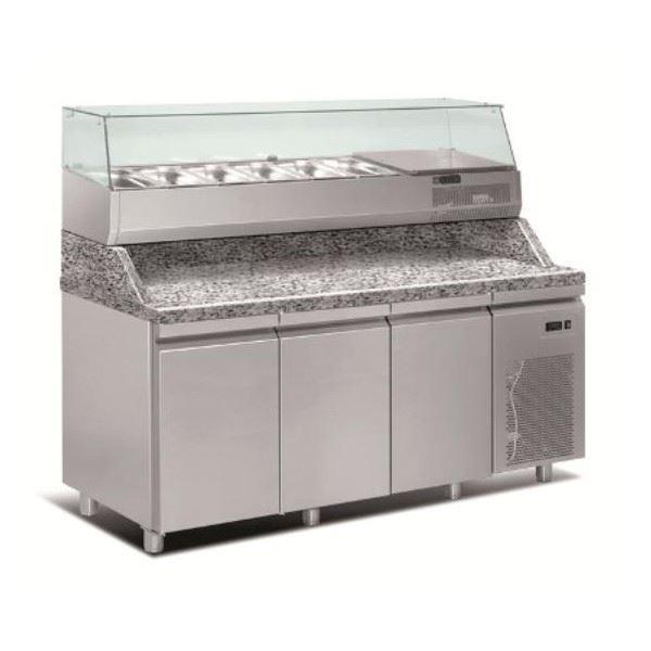 Εικόνα της Ψυγείο Πάγκος Πίτσας Συντήρηση 3 πόρτες με γρανίτη & ψυκτικό μηχάνημα, 208x80x145 cm