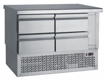 Εικόνα της Ψυγείο Πάγκος Συντήρηση με 4 συρτάρια GN με ψυκτικό μηχάνημα κάτω 1.10 m