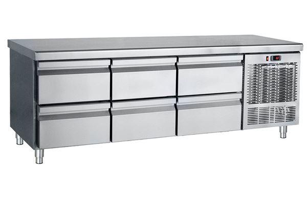Εικόνα της Ψυγείο Πάγκος Χαμηλό Συντήρηση με 6 συρτάρια GN 1.85 m