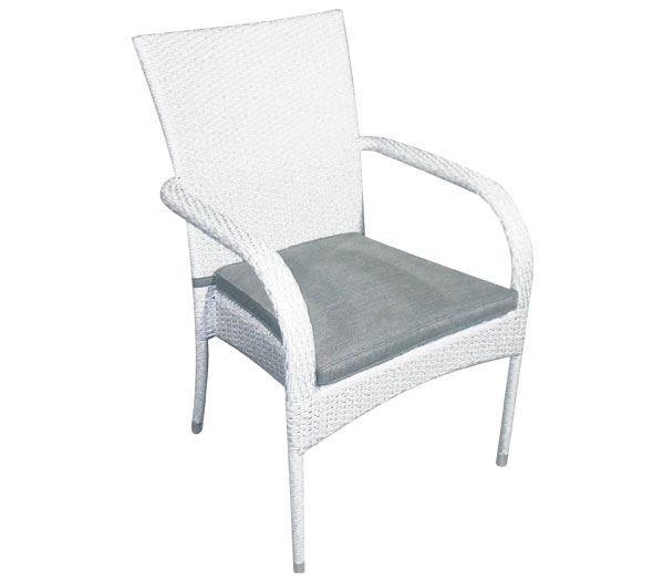 Εικόνα της Πολυθρόνα dining BARON, Wicker Ice White