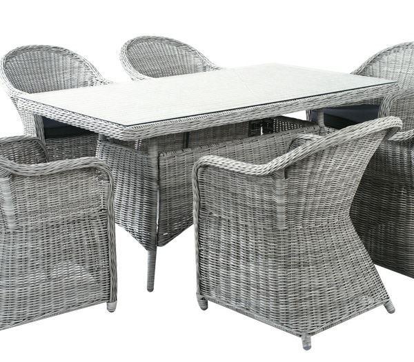 Εικόνα της Τραπέζι MONTANA, Wicker Grey- White
