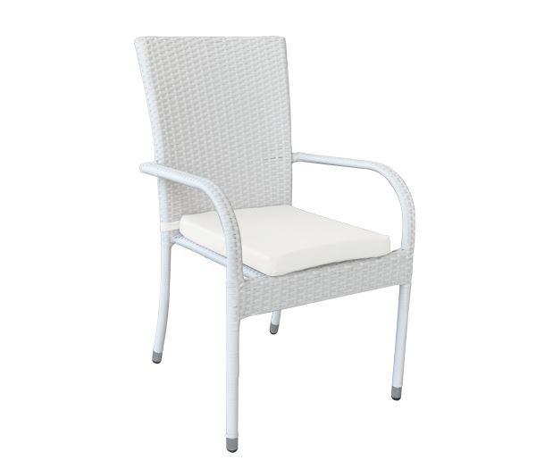 Εικόνα της Πολυθρόνα με μαξιλάρι LUCIA, Wicker White Cream