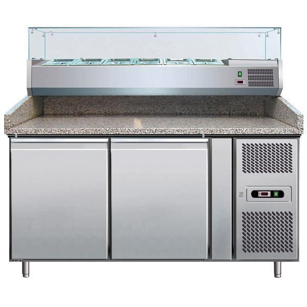 Εικόνα της Ψυγείο Πάγκος Πίτσας Συντήρηση 2 πόρτες με γρανίτη & ψυκτικό μηχάνημα για 7 GN- 1/4, 151x80x99 cm