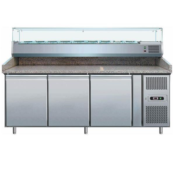 Εικόνα της Ψυγείο Πάγκος Πίτσας Συντήρηση 3 πόρτες με γρανίτη & ψυκτικό μηχάνημα 9 GN- 1/3, 202.5x80x99 cm