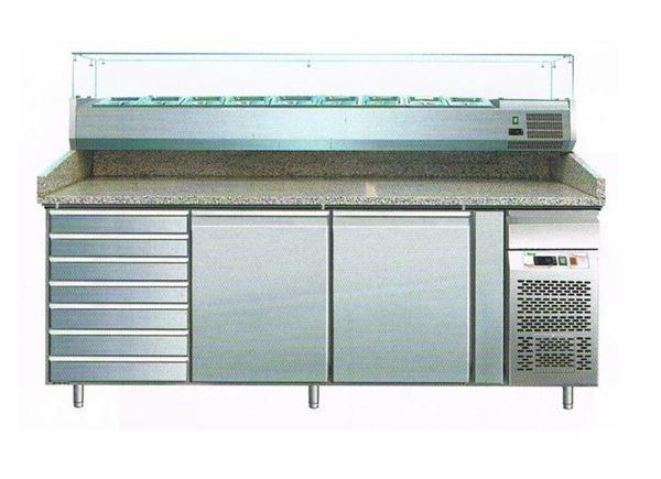 Εικόνα της Ψυγείο Πάγκος Πίτσας Συντήρηση 2 πόρτες & Συρτάρια με γρανίτη & ψυκτικό μηχάνημα για 9 GN- 1/3, 202.5x80x99 cm