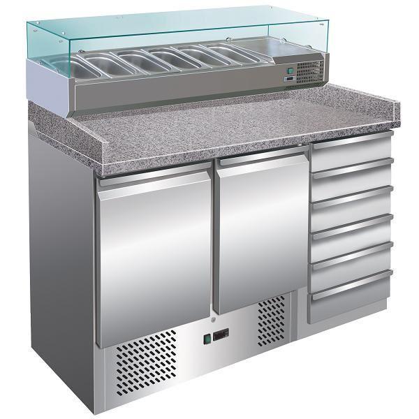 Εικόνα της Ψυγείο Πάγκος Πίτσας Συντήρηση 2 πόρτες & Συρτάρια με γρανίτη & ψυκτικό μηχάνημα, 142x70x103 cm