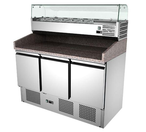 Εικόνα της Ψυγείο Πάγκος Πίτσας Συντήρηση 3 πόρτες με γρανίτη & ψυκτικό μηχάνημα, 140x70x103 cm