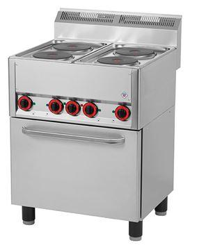 Εικόνα της Κουζίνα Ηλεκτρική με 4 εστίες και Ηλεκτρικό Κυκλοθερμικό Φούρνο για 1/1 GN
