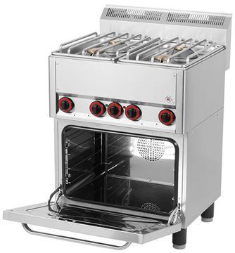 Εικόνα της Κουζίνα με 4 εστίες Αερίου και Ηλεκτρικό Κυκλοθερμικό Φούρνο για 1/1 GN