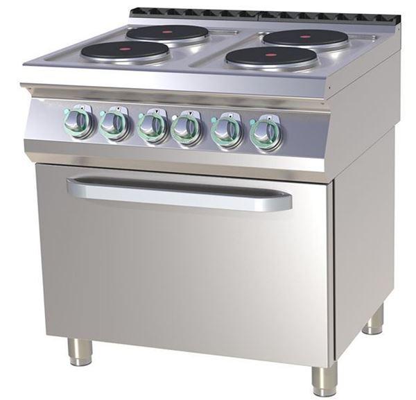 Εικόνα της Κουζίνα Ηλεκτρική με 4 εστίες και Ηλεκτρικό Κυκλοθερμικό Φούρνο, 1/1 GN