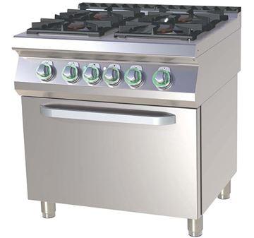 Εικόνα της Κουζίνα με 4 εστίες Αερίου και Ηλεκτρικό Στατικό Φούρνο, 2/1 GN