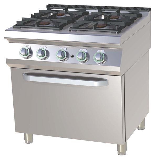 Εικόνα της Κουζίνα Αερίου με 4 εστίες και Φούρνο Αερίου, 2/1 GN