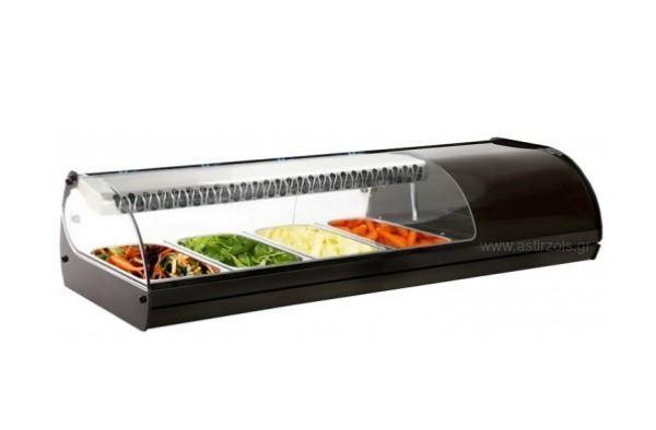 Εικόνα της Βιτρίνα ψυχόμενη επιτραπέζια Royal Sushi, για 4 GN 1/3 μαύρου χρώματος