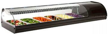 Εικόνα της Βιτρίνα ψυχόμενη επιτραπέζια Royal Sushi, για 6 GN 1/3 μαύρου χρώματος