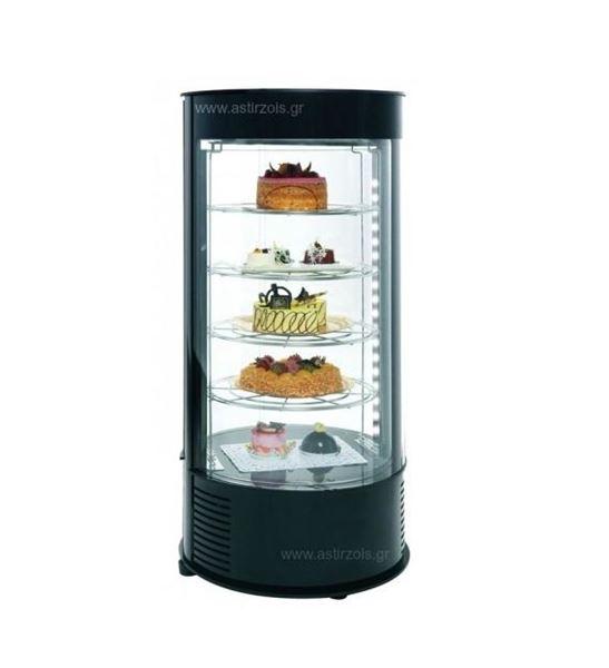 Εικόνα της Ψυγείο Βιτρίνα Ζαχαροπλαστείου μαύρου χρώματος Dolce, με 4 ράφια 32,5 cm
