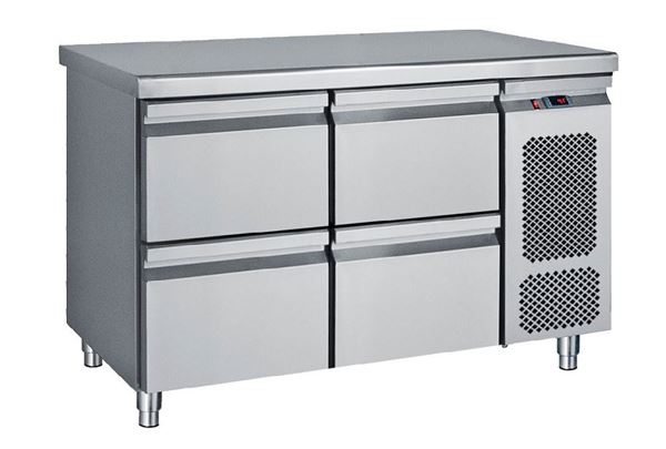 Εικόνα της Ψυγείο Πάγκος Συντήρηση με 4 συρτάρια GN με Ψυκτικό Μηχάνημα, σειρά Compact 124 cm