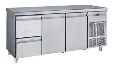Εικόνα της Ψυγείο Πάγκος Συντήρηση με 2 πόρτες και 1 συρταριέρα GN με Ψυκτικό Μηχάνημα, 185 cm