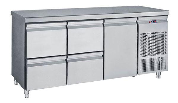 Εικόνα της Ψυγείο Πάγκος Συντήρηση με 1 πόρτα και 2 συρταριέρες GN με Ψυκτικό Μηχάνημα, 185 cm