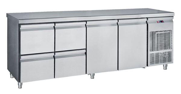 Εικόνα της Ψυγείο Πάγκος Συντήρηση με 2 πόρτες και 2 συρταριέρες GN με Ψυκτικό Μηχάνημα, 239 cm
