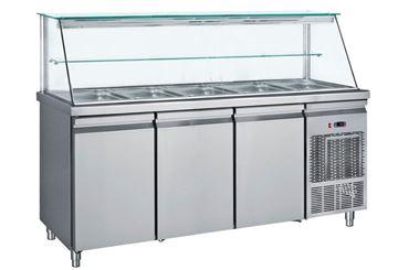 Εικόνα της Ψυγείο Βιτρίνα Σαλατών για 5 GN 1/1 με 3 πόρτες, 185 cm