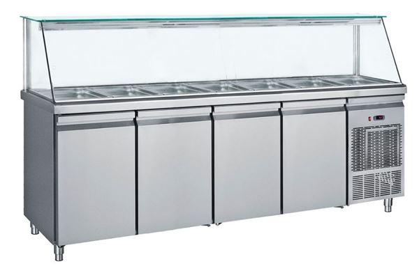 Εικόνα της Ψυγείο Βιτρίνα Σαλατών για 7 GN 1/1 με 4 πόρτες, 239 cm