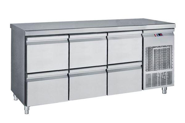 Εικόνα της Ψυγείο Πάγκος Συντήρηση με 3 συρταριέρες GN με Ψυκτικό Μηχάνημα, 185 cm