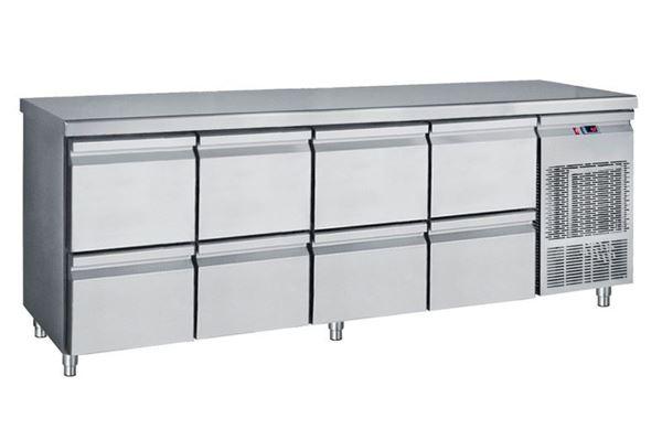 Εικόνα της Ψυγείο Πάγκος Συντήρηση με 4 συρταριέρες GN με Ψυκτικό Μηχάνημα, 239 cm