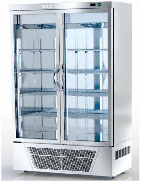 Εικόνα της Ψυγείο Θάλαμος Κατάψυξη με 2 πόρτες με Τζάμι και Ψυκτικό Μηχάνημα κάτω, 140x76 cm