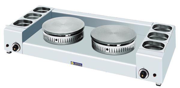 Εικόνα της Κρεπιέρα Αερίου Διπλή φ40+ φ40 cm με 3+ 3 λεκανάκια, KGL2X40 SER GAS