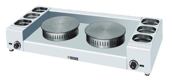 Εικόνα της Κρεπιέρα Ηλεκτρική Διπλή φ35+ φ35 cm με 3+3 λεκανάκια, KEL2X35 SER GAS
