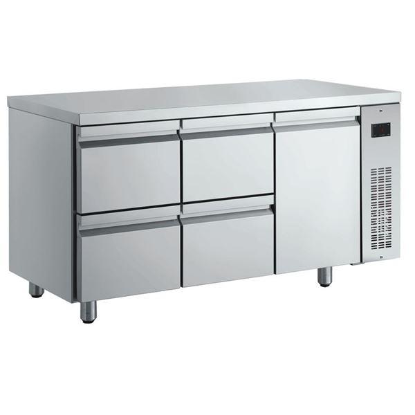 Εικόνα της Ψυγείο Πάγκος Συντήρηση με 1 πόρτα και 4 συρτάρια GN χωρίς Ψυκτικό Μηχάνημα, PNN229/RU INOMAK