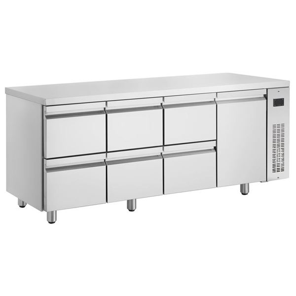 Εικόνα της Ψυγείο Πάγκος Συντήρηση με 1 πόρτα και 6 συρτάρια GN χωρίς Ψυκτικό Μηχάνημα, PNN2229/RU INOMAK