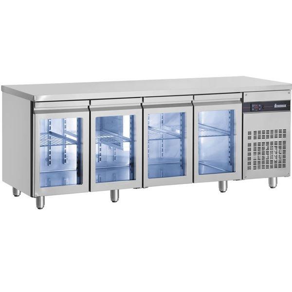 Εικόνα της Ψυγείο Πάγκος Συντήρηση με 4 πόρτες τζαμιού GN και Ψυκτικό Μηχάνημα, PNN9999/GL INOMAK