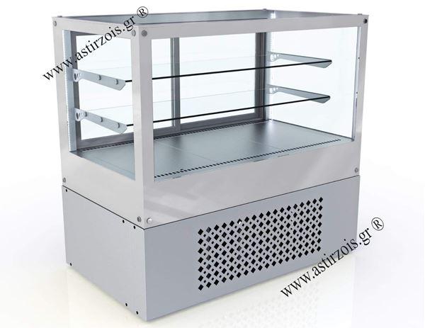 Εικόνα της Βιτρίνα θερμαινόμενη Ζαχαροπλαστείου Επιδαπέδια με Λευκό Τζάμι, VENUS H80