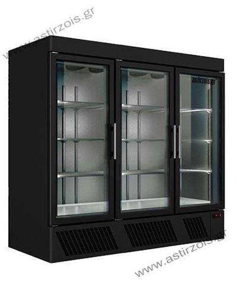Εικόνα της Ψυγείο Θάλαμος Μαύρος Βιτρίνα Συντήρηση με 3 Πόρτες και Ψυκτικό Μηχάνημα κάτω