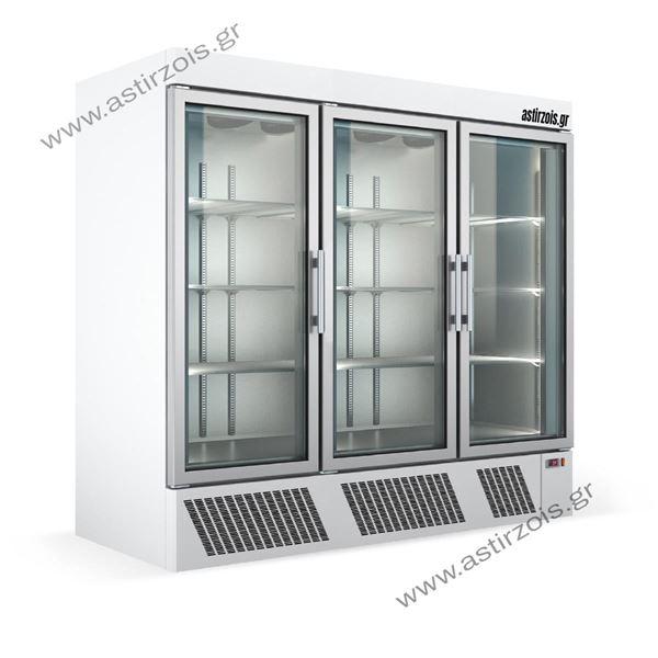 Εικόνα της Ψυγείο Θάλαμος Βιτρίνα Συντήρηση με 3 Πόρτες και Ψυκτικό Μηχάνημα κάτω