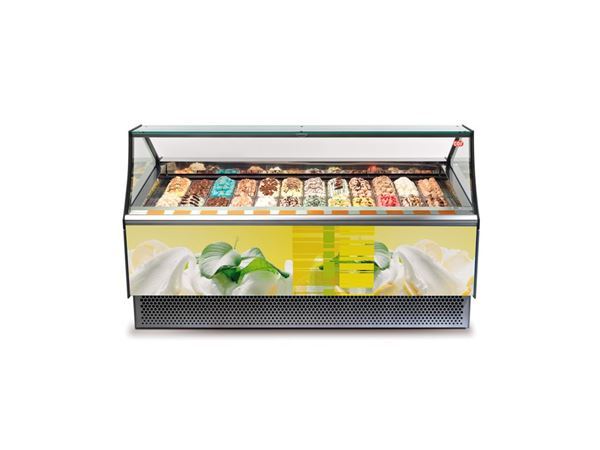 Εικόνα της Βιτρίνα χύμα παγωτού Premium 1.67 m για 18 λεκάνες, GAIA 18 [JX] CRYSTAL