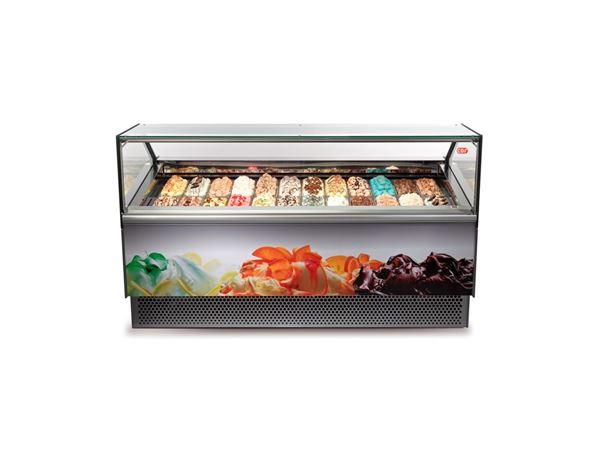 Εικόνα της Βιτρίνα χύμα παγωτού Premium 2.18 m για 24 λεκάνες, GAIA 24 [ST] CRYSTAL