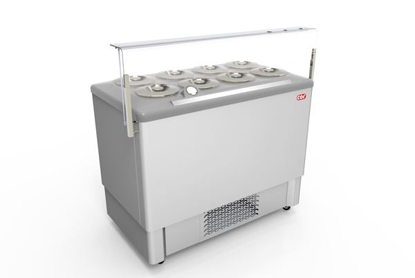 Εικόνα της Βιτρίνα χύμα παγωτού Premium 1.18 m για 8 λεκάνες, FESTIVAL INOX 8 CRYSTAL