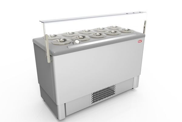 Εικόνα της Βιτρίνα χύμα παγωτού Premium 1.43 m για 10 λεκάνες, FESTIVAL INOX 10 CRYSTAL
